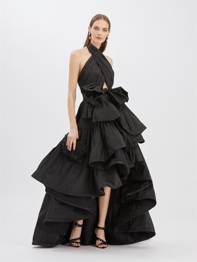 Black Taffeta Halter Ruffle Gown Black