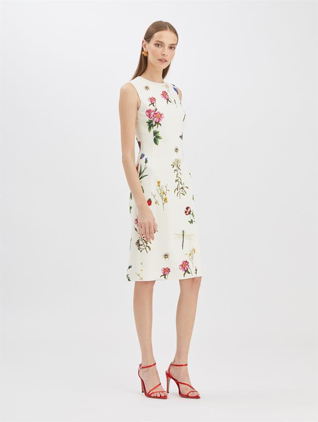 Butterfly Floral Pencil Dress Ivory