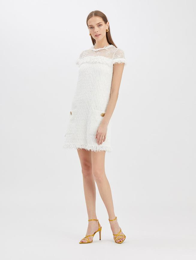 Tweed Lace Dress White