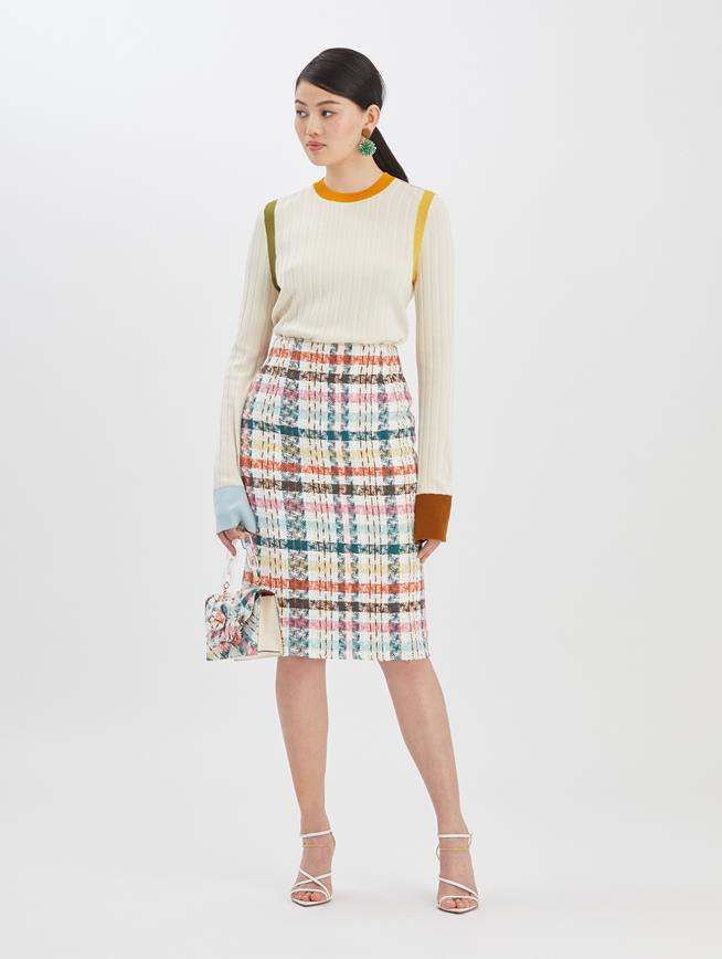 Multi Tweed Skirt Peacock Multi