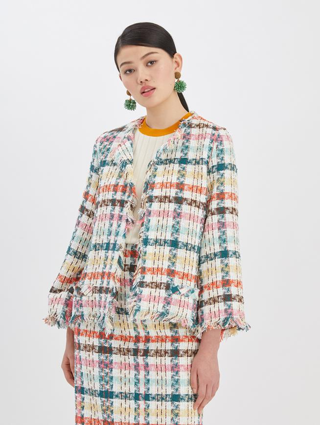 Multi Tweed Boxy Jacket Peacock Multi