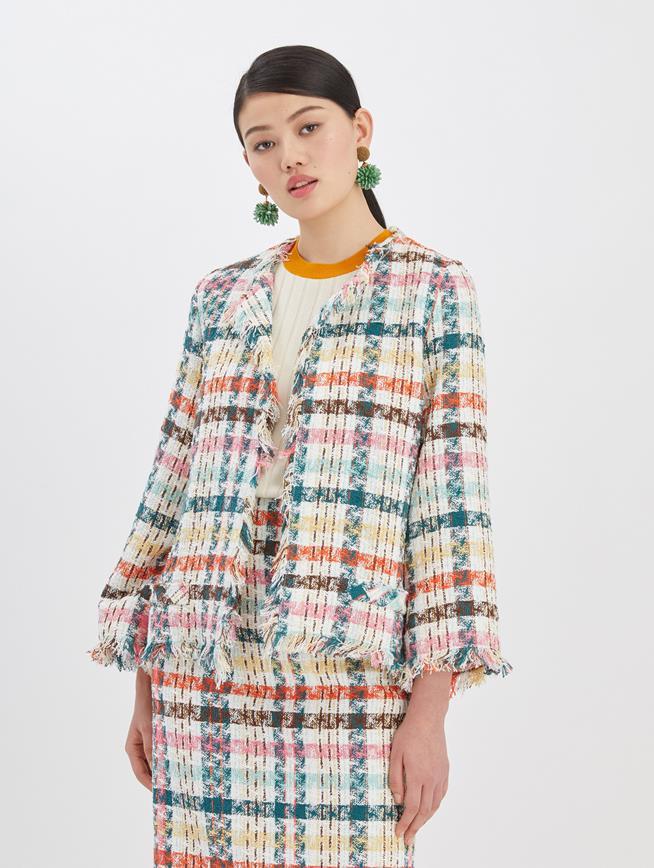 Multi Tweed Boxy Jacket Peacock Multi