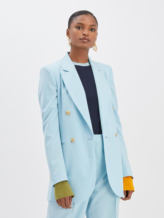 Crepe Double Breasted Blazer Aquamarine