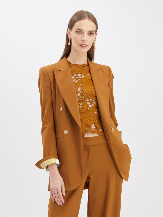 Crepe Double Breasted Blazer Bronze