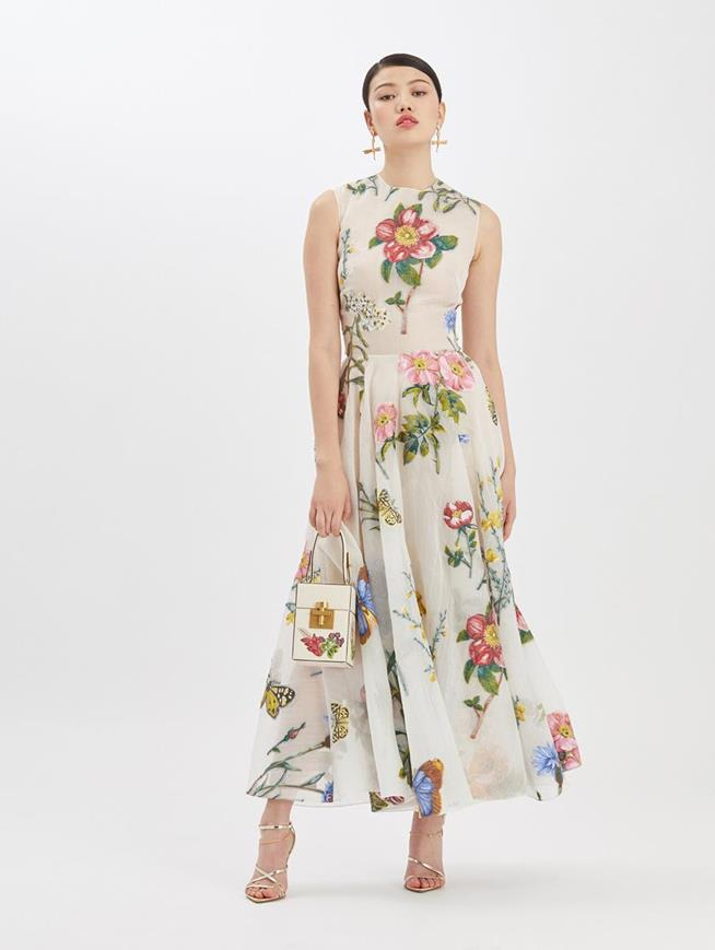 Fil Coupé Printed Midi Dress Ivory