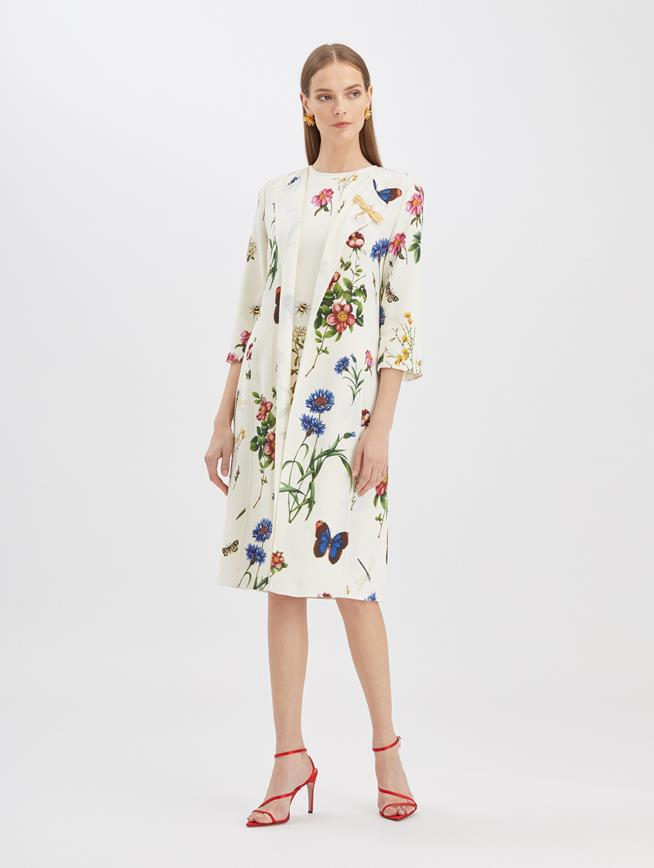 Butterfly Floral Coat Ivory