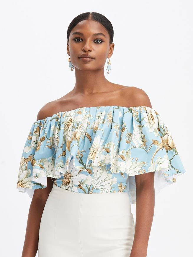 Iris and Daisy Off Shoulder Ruffle Top French Blue