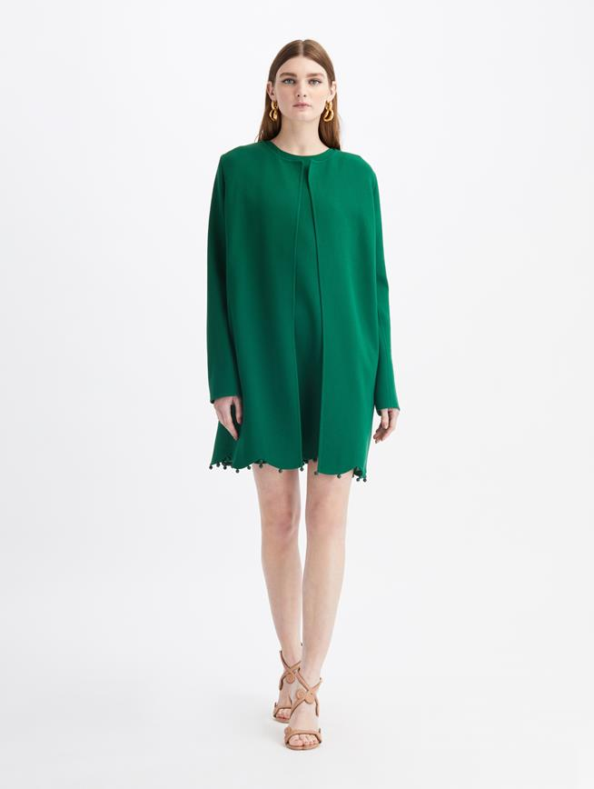 Scalloped-Hem Wool Suit Coat  Evergreen