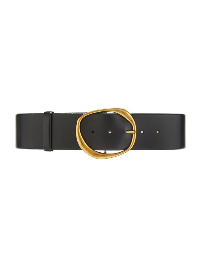Wide Leather Belt Black