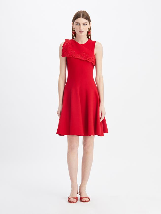 Embroidered Draped A-Line Knit Dress Cherry