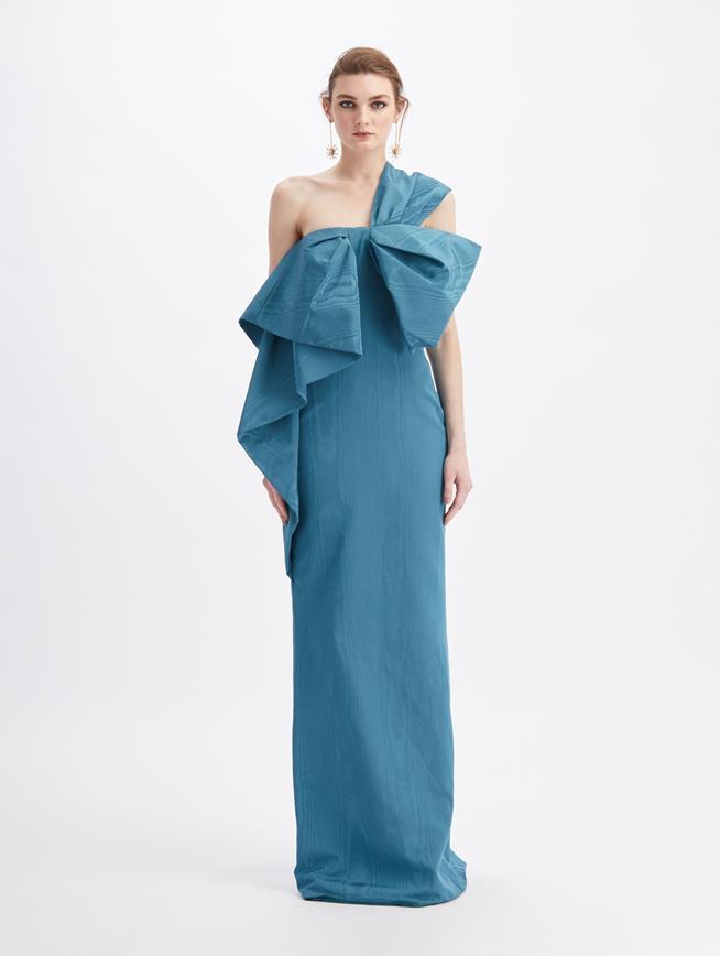 Moiré Faille One Shoulder Bow Gown Slate