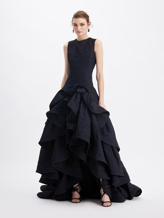 Cloqué Ruffle Skirt Gown  Navy