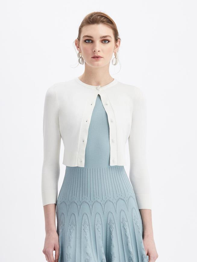 Cropped Knit Cardigan Ivory
