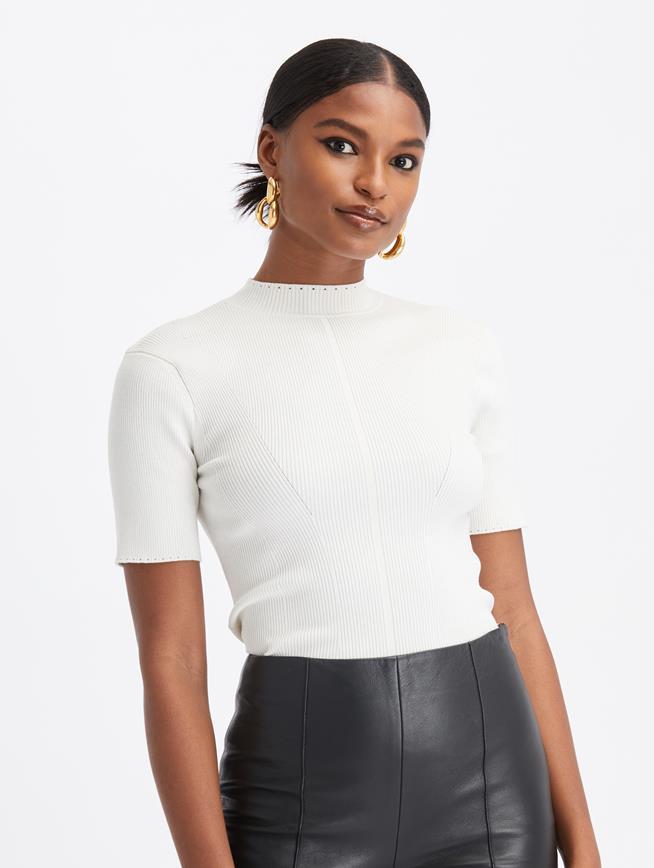 Knit Short Sleeve Pullover Ivory
