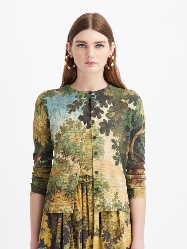 Long Sleeve Printed Knit Cardigan  Hunter Multi