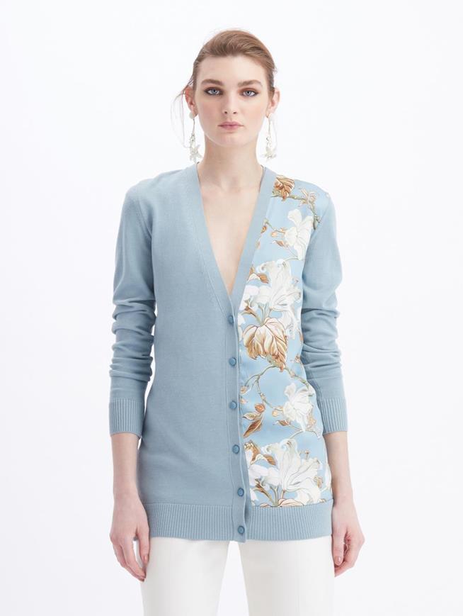 Floral V-Neck Knit Cardigan  French Blue