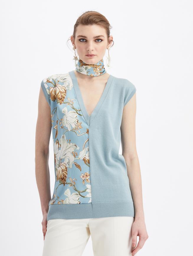 Sleeveless V-Neck Knit Tank  French Blue