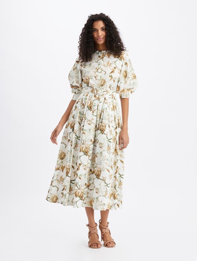 Cotton Poplin Shirt Dress Ivory