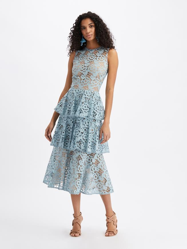 Eyelet Tiered Midi Dress French Blue