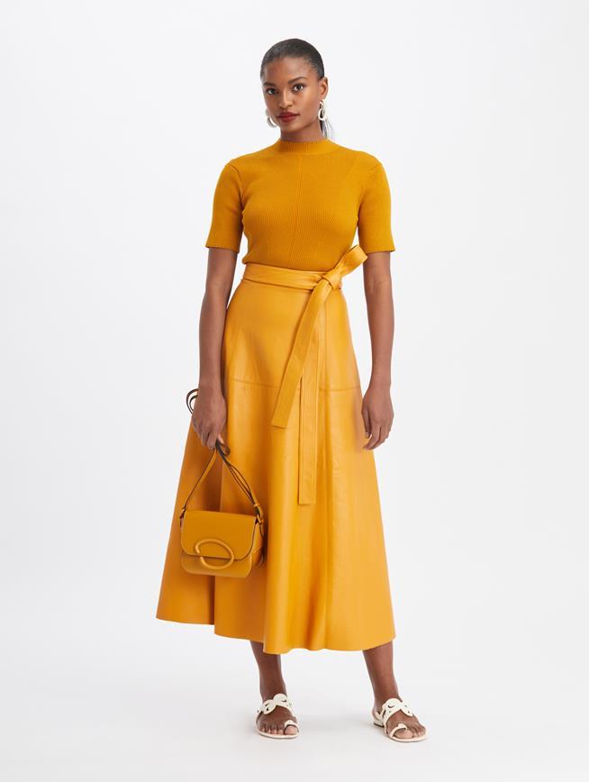 Belted Leather Midi Skirt  Honey