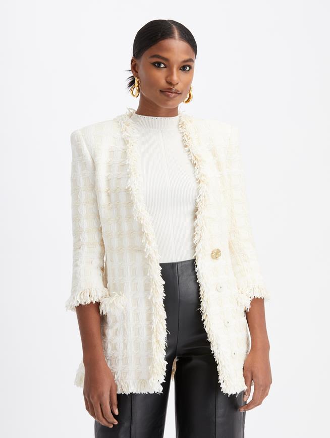 Tweed Collarless Jacket Ecru
