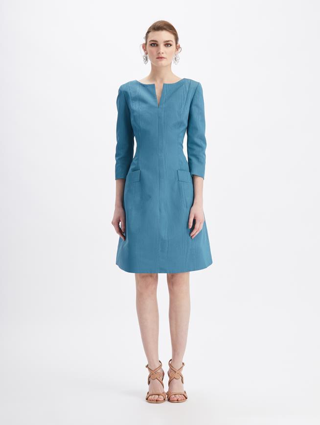 Moiré Faille Split Neck Dress Slate