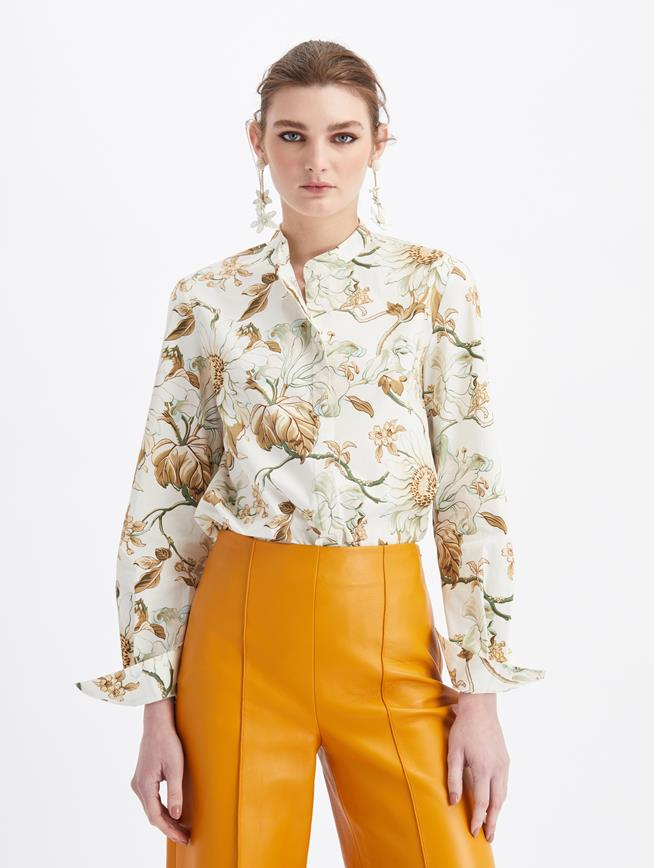 Floral Button Blouse Ivory