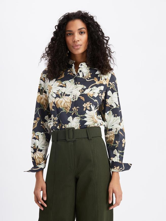 Floral Button Blouse Navy