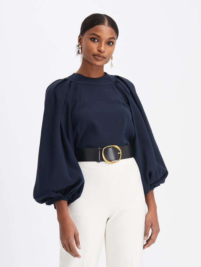 Stretch Georgette Peasant Blouse  Navy