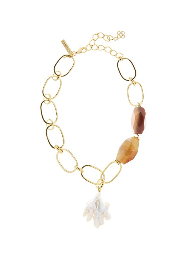 Pearl and Agate Stone Necklace    Brown Agate