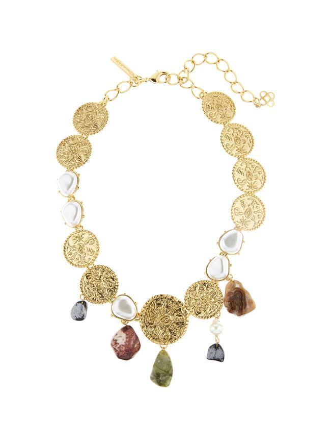 Coin & Semi Precious Stone Necklace Gold