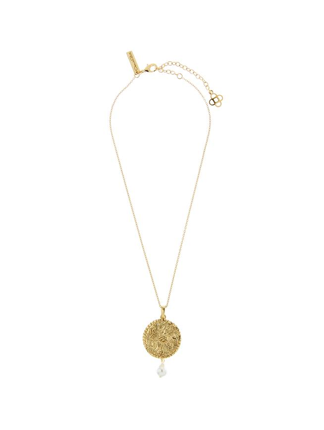 Coin & Baroque Pearl Pendant Necklace Gold