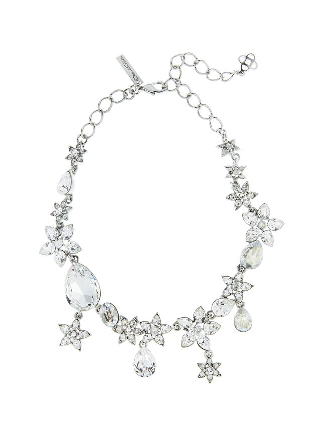 Flower Crystal Necklace Cry Shade/Silver