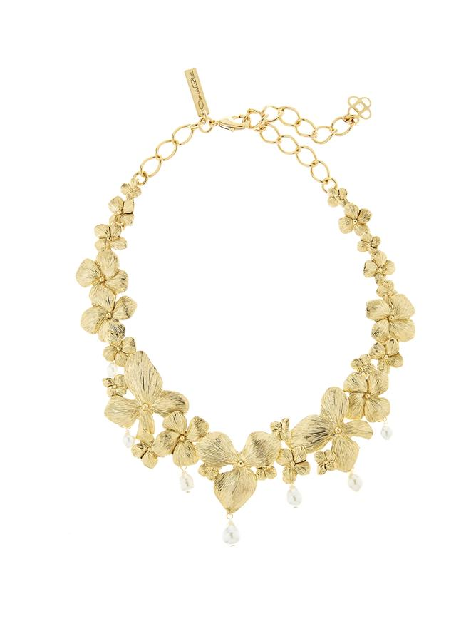 Flower And Pearl Necklace Gold