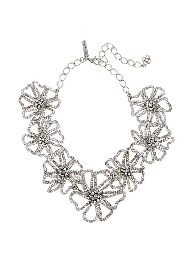 Pavé Flower Necklace Crystal