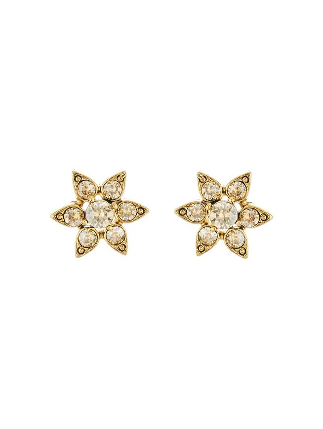 Crystal Flower Button Earrings Cry Gold Shadow