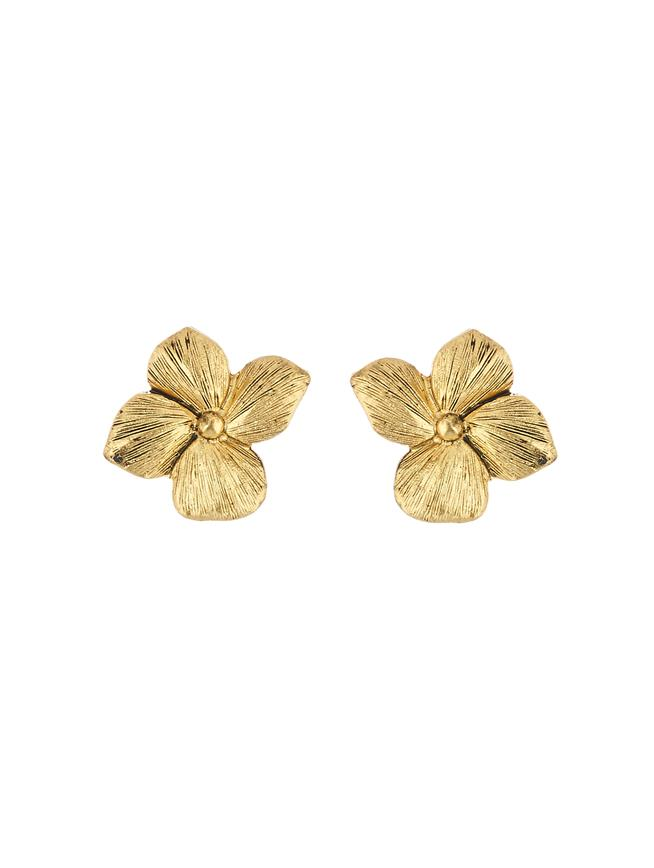 Flower Button Earrings Gold