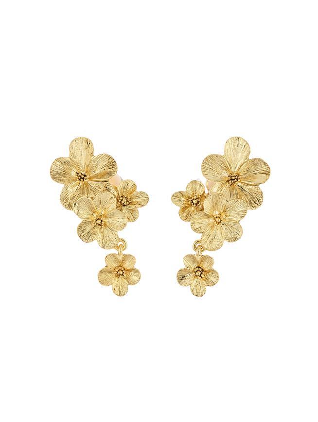 Double Flower Drop Earrings Gold