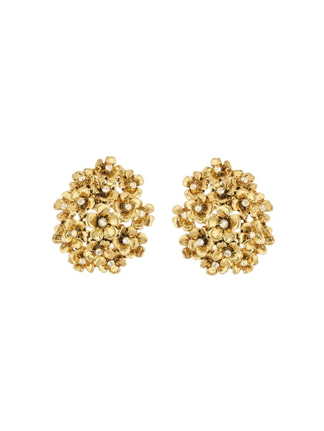 Floral Cluster Earrings Gold