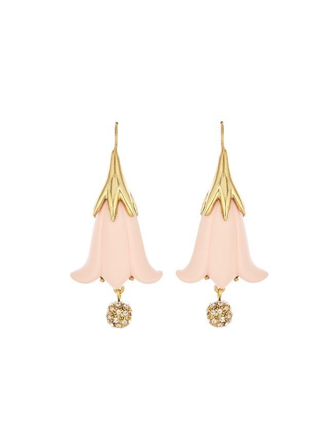 Resin Flower & Pavé Ball Earrings Buff