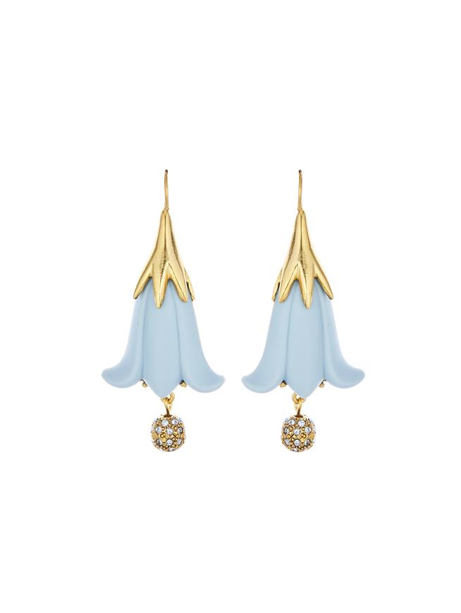 Resin Flower & Pavé Ball Earrings French Blue