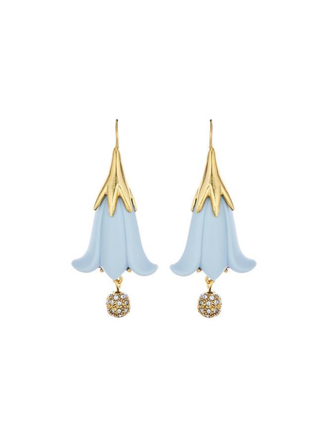 Resin Flower & Pavé Ball Earrings French Blue