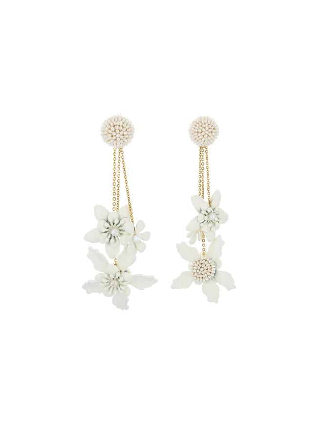 Embroidered Flower Earrings Ivory