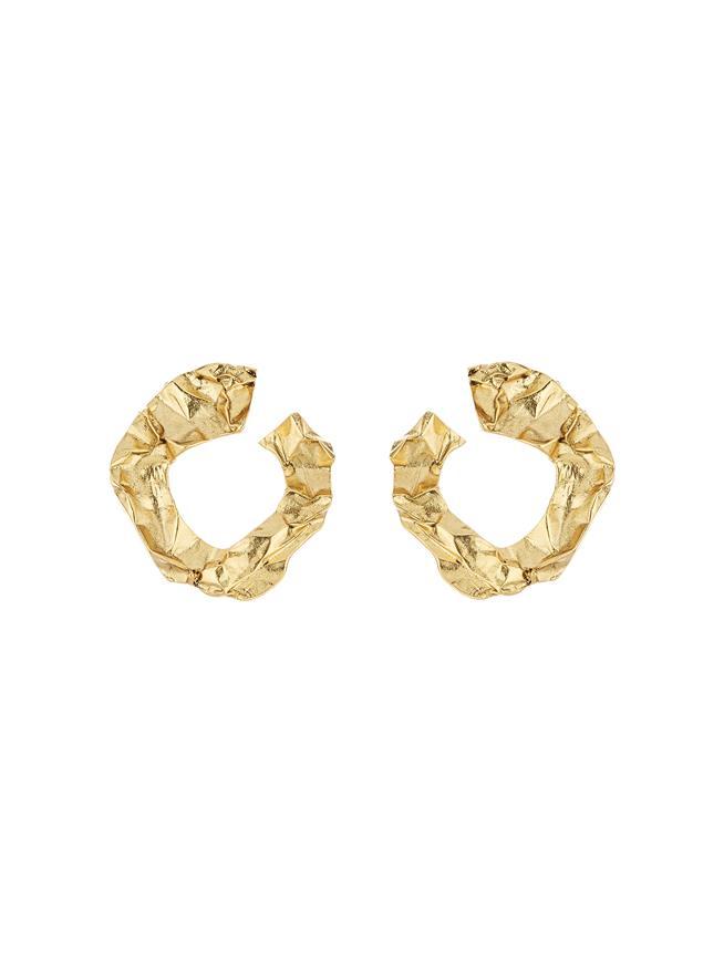Crinkled Metal Hoop Earrings Gold
