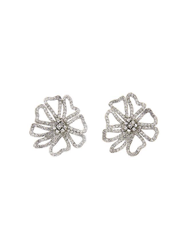 Pavé Flower Earrings Crystal