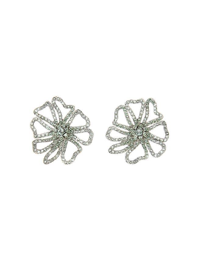 Pavé Flower Earrings Mint