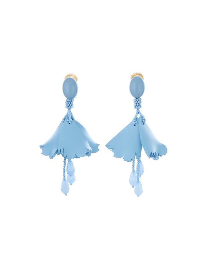Mini Impatiens Earrings French Blue