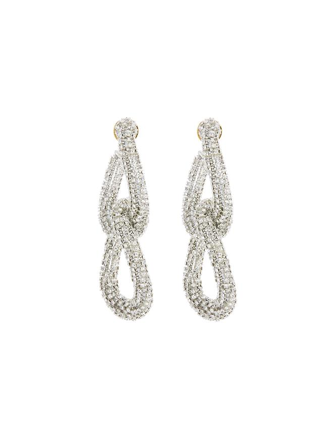 Embroidered Crystal Link Earrings Crystal