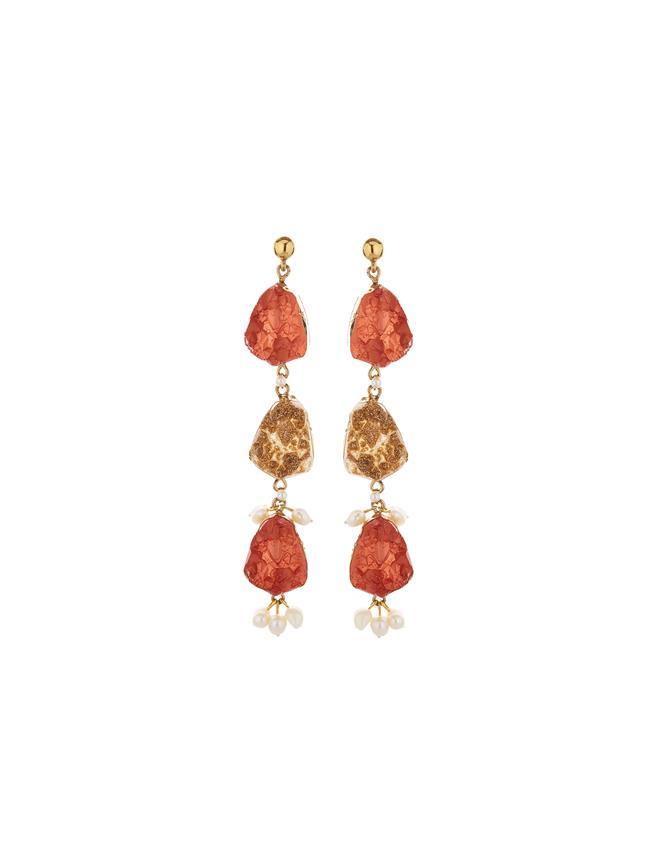 Druzy Stone Earrings Rust
