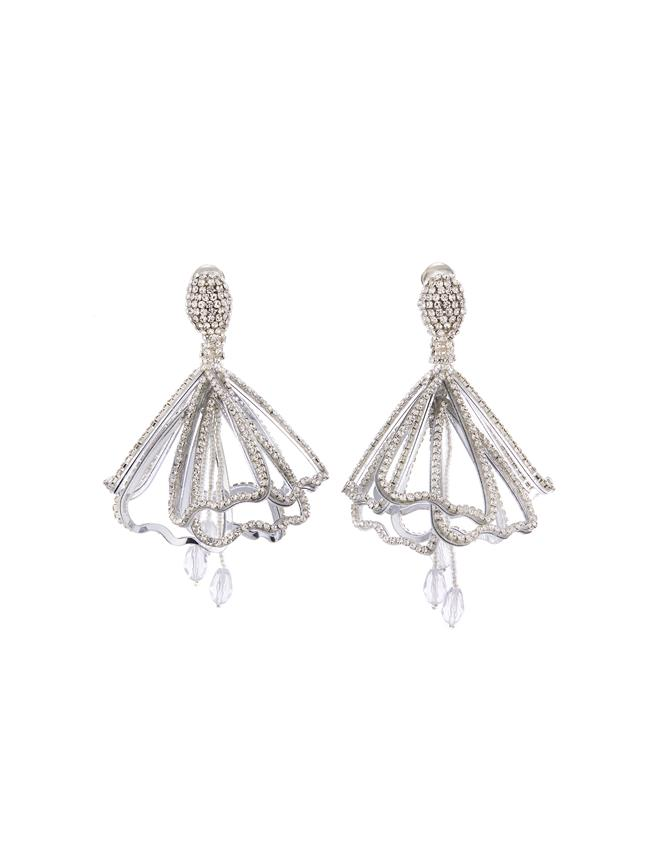 Pavé Petal Impatiens Earrings Crystal